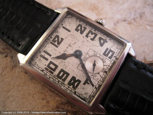 Early Very Large Square Elgin with Original Silvered Dial, Manual, 28x35mm