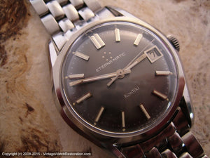 Eterna-Matic KonTiki Silver-Gray Dial, Date, and Original Brick Style Bracelet, Manual, Large 35mm