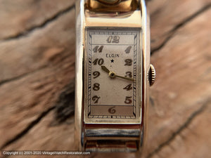 Elgin Elongated Curved Case c.1936, Manual, 20x46mm