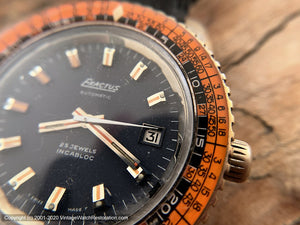 Exactus with Black Dial and Amazing Orange Bezel Ring, Date, Automatic, Huge 42mm