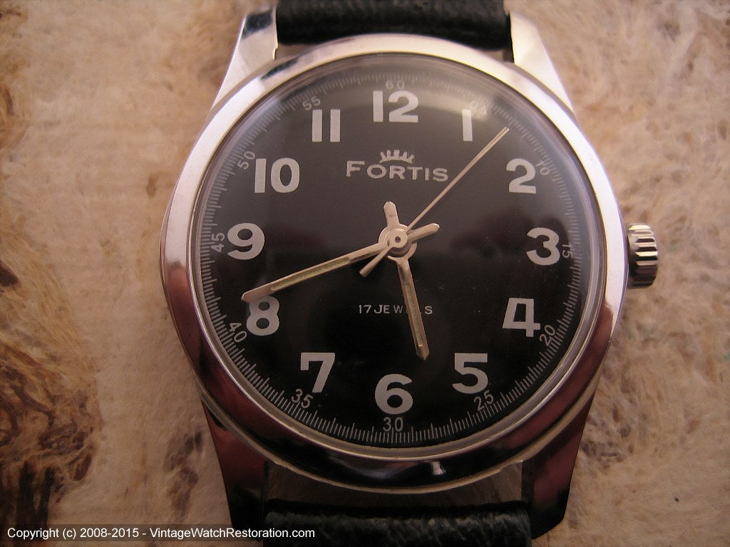 Fortis Black Military Style Dial, Manual, 32.5mm