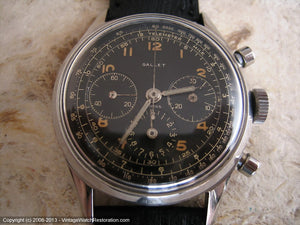 Rare All Original Gallet MultiChron 12 'Jim Clark' Black Military-Style Dial Chronograph, Manual, Huge 38mm