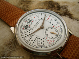 Girard-Perregaux Unusual Playing Card Dial Design, Manual, Huge 38mm