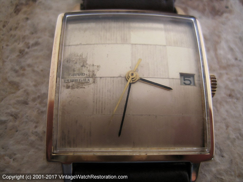Girard-Perregaux Checkered Golden Dial with Date in Square Case, Manual, 29x29mm