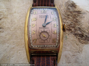 Gruen Cal 440 Curvex Two Tone Salmon Dial, Manual, 22.5x40.5mm