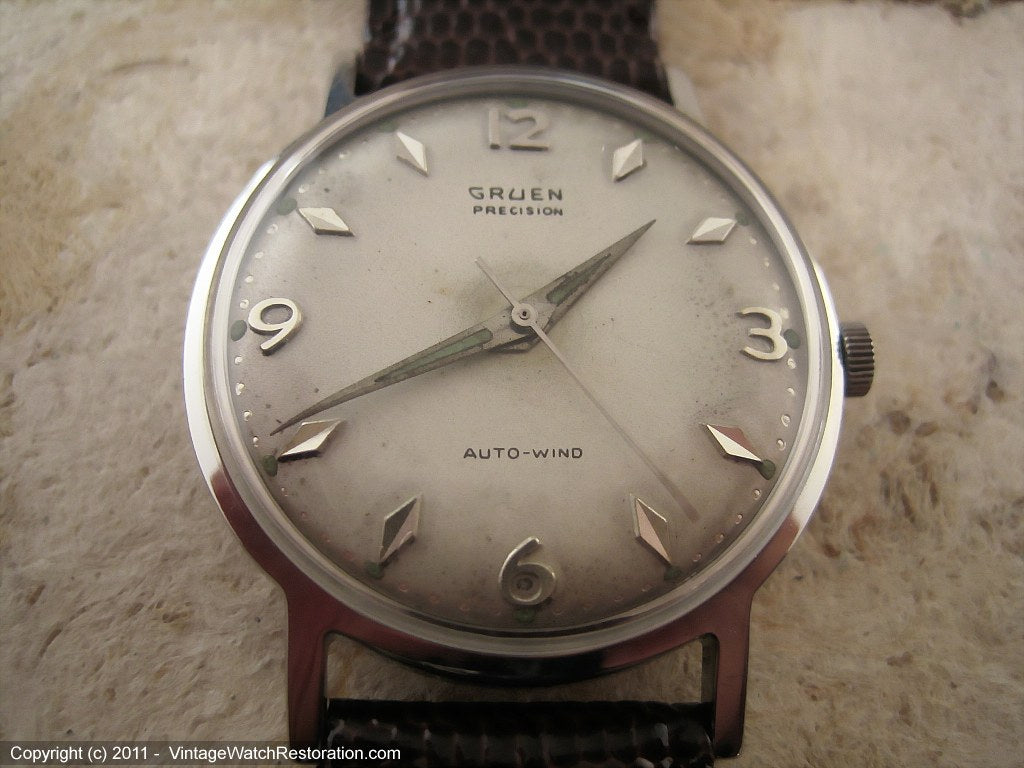Gruen Precision Autowind with Attractively Designed Original Dial, Automatic, Large 34mm