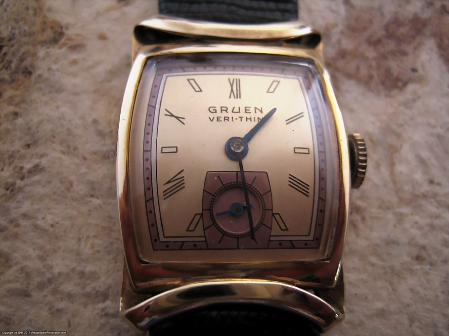 Gruen 'Veri-Thin' Copper and Gold Roman Dial with Ribbon Style Case, Manual, 23x33.4mm