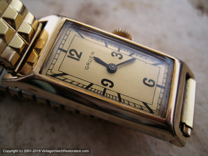 Gruen Bold Dial with Elongated Case, Manual, 18x41mm