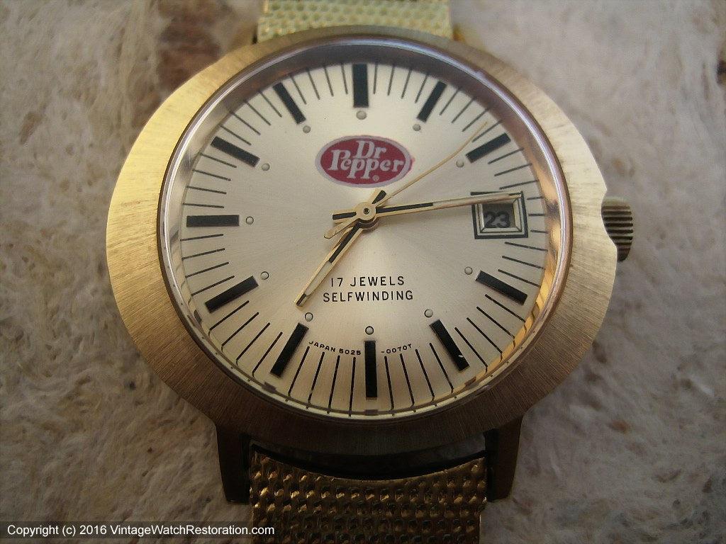 Dr. Pepper Promotional Watch with Date, Automatic, Large 40x42mm