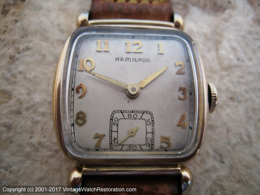 Hamilton 1940s Square Tonneau with Hamilton Signed Pigskin Strap, Manual, 27x34.5mm