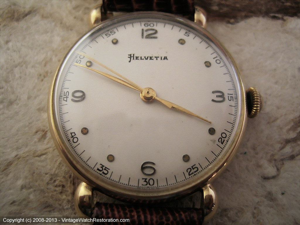 Helvetia 18K Gold with Splendid Dial, Manual, 33.5mm