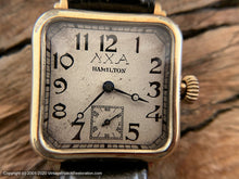 Load image into Gallery viewer, Hamilton 1940s Germanic Gothic Deco Dial with ΛΧΑ in Rounded Square Case, Manual, 28mm