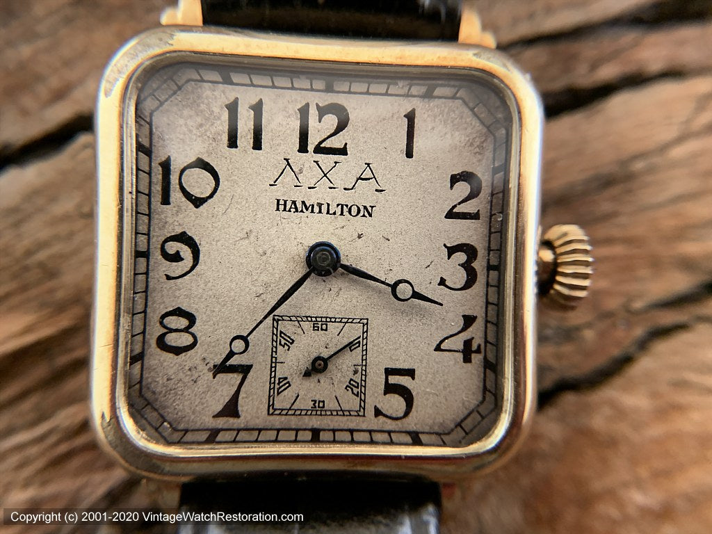 Hamilton 1940s Germanic Gothic Deco Dial with ΛΧΑ in Rounded Square Case, Manual, 28mm