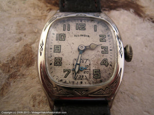 Illinois 'Beau Brummel' with Southwestern Indian Motif 14K White GF Case, Manual, 28x38mm