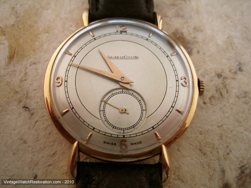 Elegant and Rare Jaeger Lecoutre 18K Rose Gold with Tear Lugs, Manual, Large 35.5mm