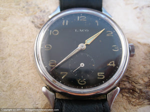 German WWII Era Military Laco with Black Dial, Manual, Large 34mm