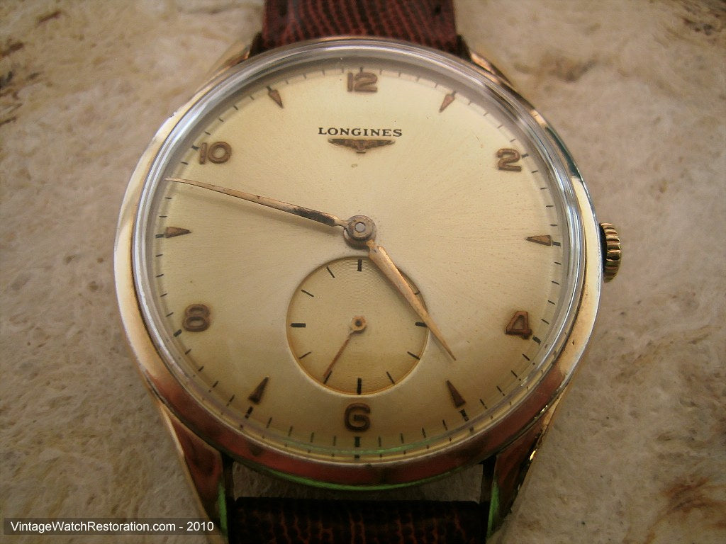 Impressively Sized Longines Classic Style with Golden Dial, Manual, Huge 39mm