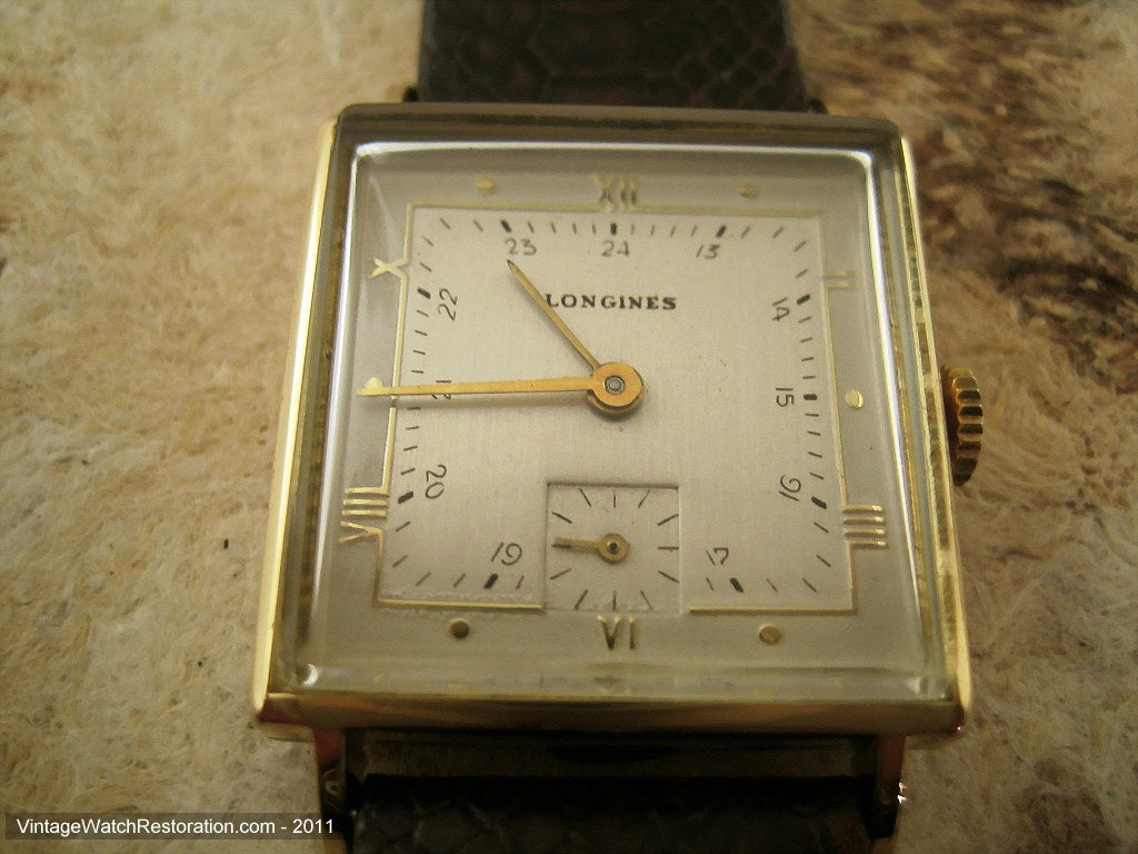 Square 14K Gold Stylized 24-Hour Longines, Manual, 25.5x25.5mm