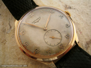 Longines Huge 18K Yellow Gold with Original Patina Dial, Manual, Huge 37.5mm
