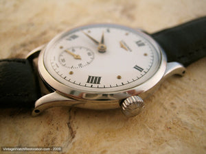 Longines Stunning White Dial with Black Roman Numerals, Manual, Large 35mm