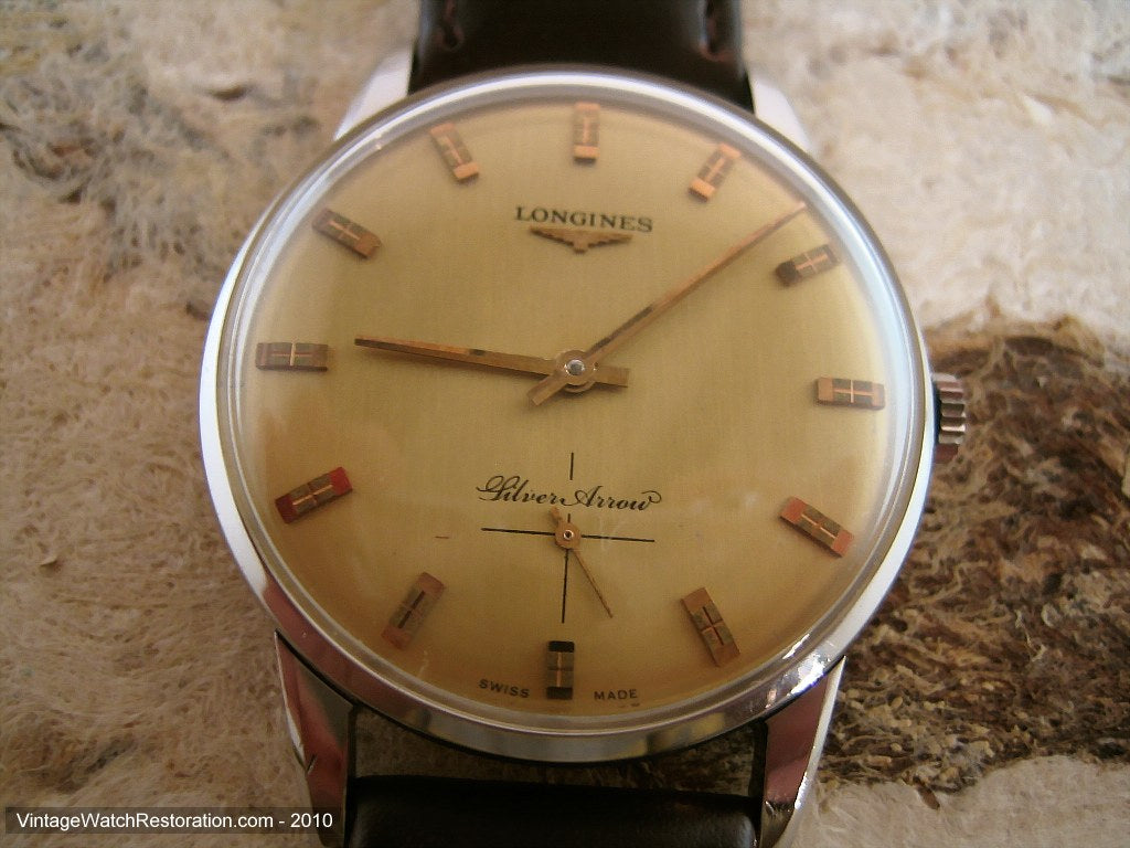 Golden Dial Longines Silver Arrow, Manual, Very Large 35mm