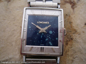 Longines Rectangular Blue Constellation Dial with Art Deco Hands, Manual, 24x28mm