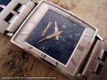 Load image into Gallery viewer, Longines Rectangular Blue Constellation Dial with Art Deco Hands, Manual, 24x28mm