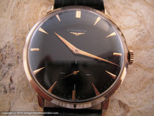 Load image into Gallery viewer, Longines 18K Rose Gold Case with Black Dial, Manual, Large 37mm