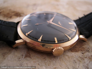 Longines 18K Rose Gold Case with Black Dial, Manual, Large 37mm