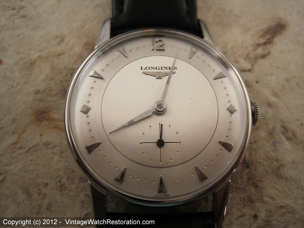 Superb Two-Tone Longines with Inset Dot Markers, Manual, 33.5mm