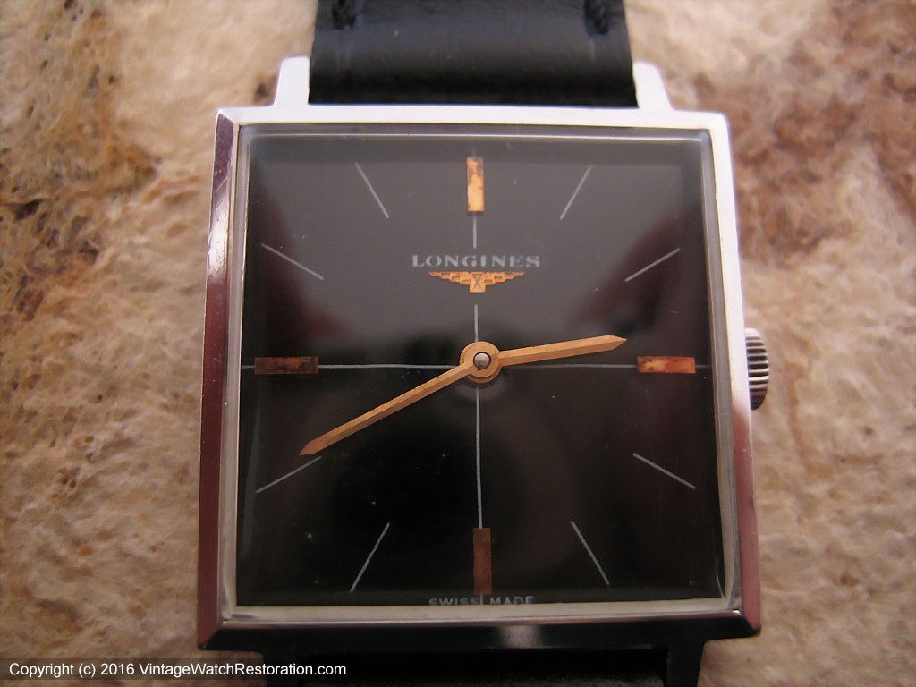 Longines Square Glossy Black Dial, Manual, 28.5x36mm