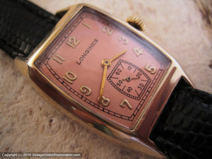 Rare 1930s Drivers-Style Longines with Coppery-Salmon Dial, Manual, 24x39mm