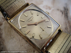 Longines Elegant Golden Oval Dial w/ Textured Sixties-Style Case and Bracelet, Manual, 24x37mm