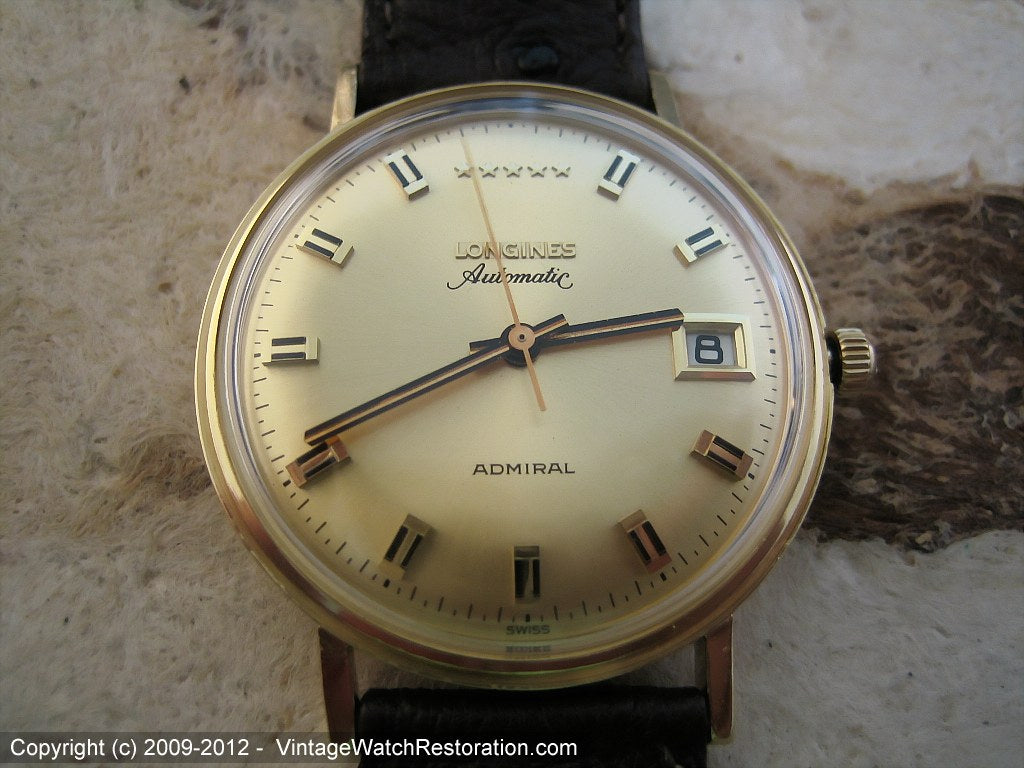 14K Gold Longines Admiral Five Star, Automatic, Large 35mm