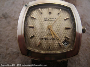 Longines Ultra-Chron Square Tonneau with Date at 4:30, Automatic, 33x33mm