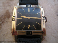 Load image into Gallery viewer, Unusual Lord Elgin Black Dial with Inlaid Numbers on Bezel, Manual, 28x37mm