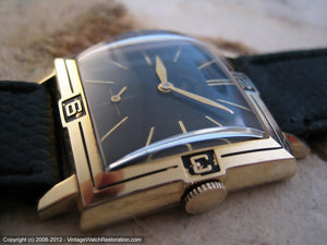Unusual Lord Elgin Black Dial with Inlaid Numbers on Bezel, Manual, 28x37mm