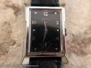 Lord Elgin Black Dial in 14K White Rolled Gold Case with Flared Lugs, Manual, 21x35mm