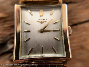 Longines Silver Dial Rectangular Case with Brick Pattern Strap, Manual, 26x35mm