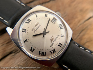 Longines Ultra-Chron Roman Numeral Dial with Date in Mint Square Tonneau Case, Automatic, 33.5x38mm