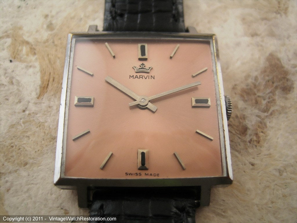 Marvin in Large Square Case with Salmon-Rose Dial, Manual, 27.5x27.5mm