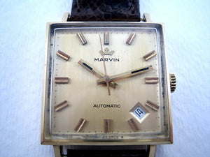 Marvin 18K Gold Square, Automatic, 29x29mm