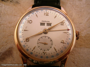 18K Gold Marvin Day/Date Complicated, Manual, Large 35mm