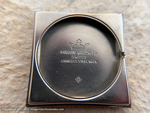 Marvin NOS Bronze Dial in Square Case, Manual, 27.5x27.5mm