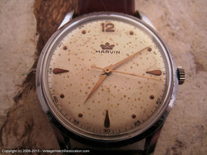 Marvin with Wonderful Speckled Dial and Original Red Presentation Box, Manual, V.Large 37mm