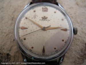 WWII Era Large Marvin with Nice Dial Patina (OC1), Manual, Huge 37mm