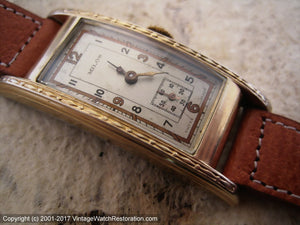 Milos (Savoy) Thirties Classic in Super Elongated Curved Case, Manual, 20x48mm