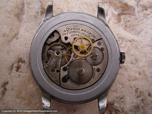 Original WWII Era Movado Elegant Roman Dial, Manual, Very Large 35mm