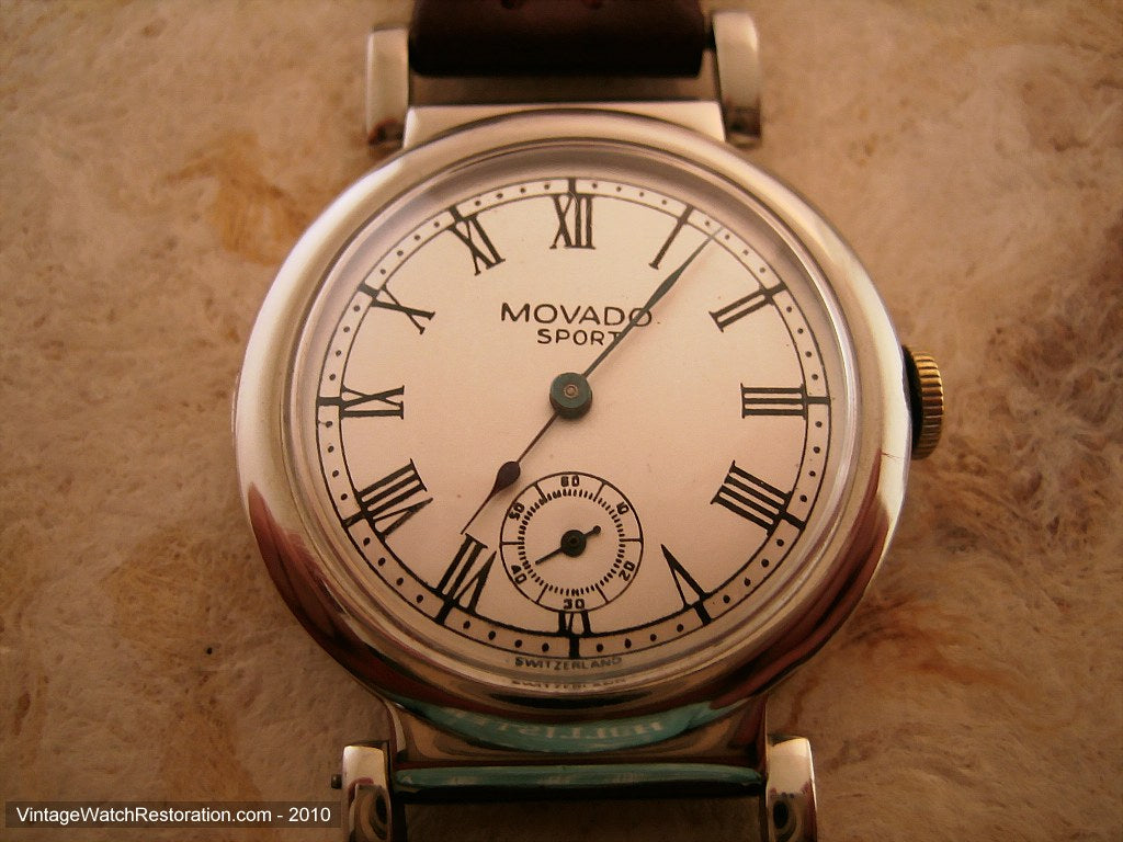 Early Movado Sport Roman with Swing Lugs, Manual, 33mm