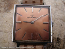 Load image into Gallery viewer, Movado Beautiful Copper Dial in Square Case, Manual, 26x26mm